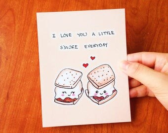 Funny valentine card funny, Funny valentines card boyfriend, valentines day card wife, Anniversary card, Funny anniversary card, smore card