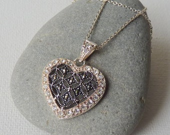 Sterling Silver Marcasite Heart Pendant Chain Necklace Vintage Cubic Zirconia Heart Necklace MINT Marcasite Heart Retro Cubic Zircon Jewelry