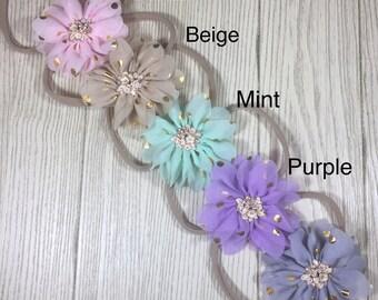 """Infant Headband- 2.5"""" Chiffon Flower Nylon Headband- Baby Headband- Baby Girl Toddler Headband"""