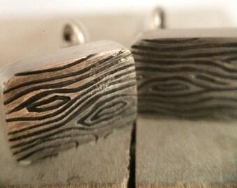 Woodgrain Cufflinks Sterling Silver with Button Backs
