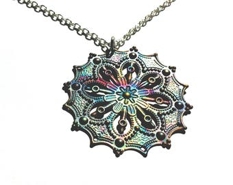 Colorful Ornate Boho Torched Metal Artisan Pendant, Vivid Beach Abstract Brass Spirited Designer Necklace, Multi-colored Modern Fun Jewelry.