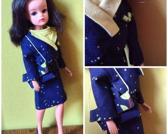 Sixties inspired shift dress and jacket with matching bag for Sindy, Tammy, Barbie, Tressy doll