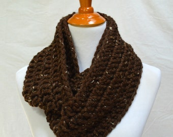 Brown Tweed Infinity Scarf, Chunky Brown Scarf, Chocolate Brown, Made to Order, Christmas Gift, Gift Ideas, Winter Scarf, Circle Scarves