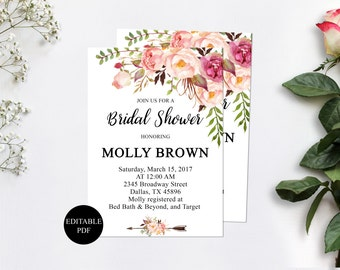 Bridal shower invitation instant download, bridal shower invitation template, bridal shower invitation printable, invitations cheap, floral