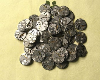 5 pcs 26 mm Watch Movements, 1 Inch Movements, Steampunk Supplies, Altered Art Supplies, One Inch Movements