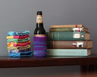 Beer Cozy // Vegan Rainbow Crochet Beer Bottle Cozy // Cotton Reusable Glass Bottle Cozy
