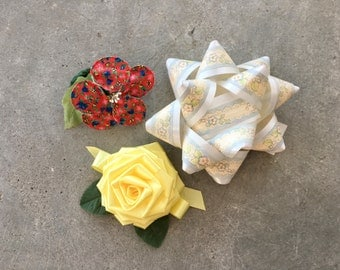 Vintage Trio of Gift Bows | Large | Unique | Gift Wrapping | 1960's