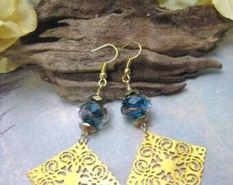 Gold Earrings, Long Earrings, Filigree Earrings, Teal Blue Earrings