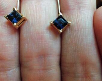 Genuine dark blue sapphire solid 14k yellow gold leverback earrings