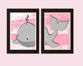 Cute Whale Decor, Whale Wall Art, Girls Bedroom Decor, Girls Bathroom Decor, Girls Bathroom Wall Art, Whale Wall Art, Pink Gray Decor,