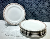 Vintage Set of 6 Salad Dessert Plates by Haviland, Limoges Porcelain, Leaves and Berries Garland with Gold Trim, Neoclassical, Circa 1920s