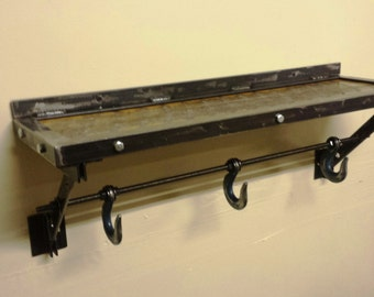 Sturdy Industrial Shelf With Hooks Below Made With Recycled Steel, Reclaimed Wood, Bolts and All Thread