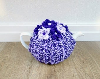 Lovely Purple & Lilac Tea Cosy - Medium Tea Cozy - Knit Floral Tea Cosy (Ready to post)