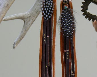 Deer leather warrior goddess duster earrings
