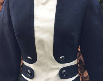 Stunning Bernard Freres Black/cream wool vintage 60s mod dress marked size 12, but fit UK 10