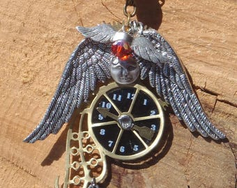 Steampunk, Swirly moon, flying lost!  necklace