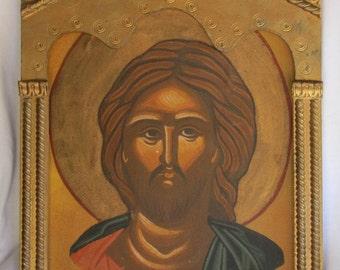 Vintage Greek Byzantine Orthodox christian original Hagiography icon of Christ, Christ art, Jesus painting, Christ hagiography, Hagiography.