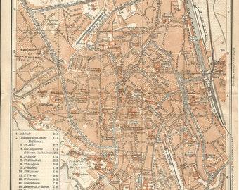1905 map of gent belgium. antique map  vintage wall decor.