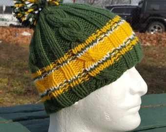 Green Bay Knit Beanie / Packers Knit hat / Mens Knit Hat / Football Knit Beanie / Mens winter hat / Winter pom pom hat / Cable Ski hat