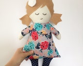 ROSE fabric doll, rag doll gift for kids, cloth doll gift for toddler girls, ragdoll, rose, girl doll, Christmas gift idea for toddler