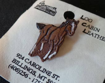 NEW Vintage Log Cabin Leather Running Horse Brown Racehorse Brooch Pin