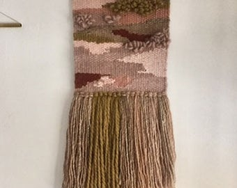 """9"""" x 26"""" Handwoven Wall Hanging / Tapestry Weaving"""
