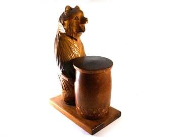 Big Vintage Hand carved wooden Bear, wooden jewelry box, home decor, Vintage wooden box, Wooden Bear with Barrel, figurine big Wooden Bear