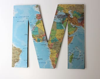 Map Letters, Travel Art, Wall Letters, Wooden Map Letters, Travel Decor, Wedding Table Decor, Wanderlust, Oh the places you'll go,World Map