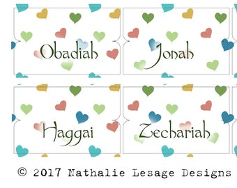 Printable Labels Tabs for Bible Christian Bible Journal Supply Bible Journaling Bible Tabs Supplies Muted Hearts by The Crafty Tribe 2017BT8