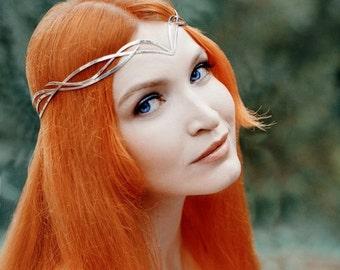 Wedding tiara - Bridal Silver Elf Tiara – elven Silver circlet - Wedding Headpiece - silver diadem - fairy tiara - fantasy wedding Ribiellim