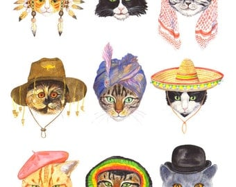 "Signed A4 Giclee limited edition print ""Cats In Hats"", for those who love Cats wearing Hats! By Laura Robertson"
