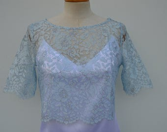 Top lace cocktail, cropped top married lace sky blue, light blue shoulder cache