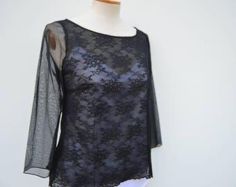 Clearance 30% Crop top Black Lace cocktail lace blouse