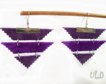 Lilac Leather Earrings, Geometric Leather earrings, Violet earrings, Purple earrings, Lilac earrings, Geometric leather jewelry