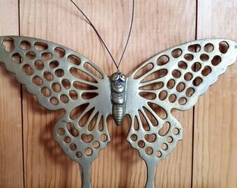 Pair Of Vintage Brass Butterflies 70's Decor