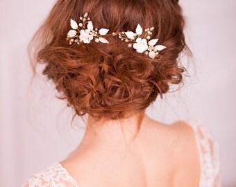 Flower bridal hair pins Leaf wedding hair pins Flower bridal hair accessories Flower bridal hair clip Floral bridal hairpiece Gold hair pins