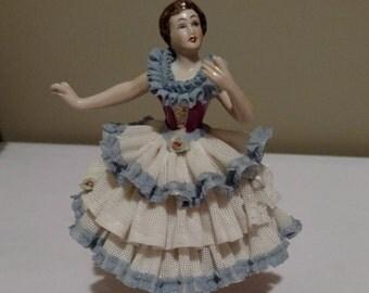 Vintage Dresden Lace Porcelain Continental Figurine Dresden Art Wilhelm Rittirsch