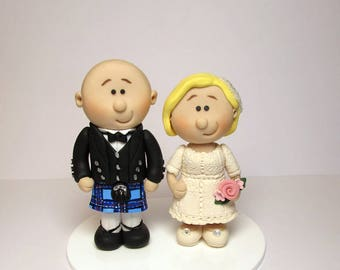 Scottish Bride And Groom  Wedding Cake Topper, Personalised Wedding Topper, Custom Made Cake Decoration, Gift