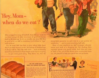 1950 Little Boys and Baseball A&P Ad Matted Vintage Print