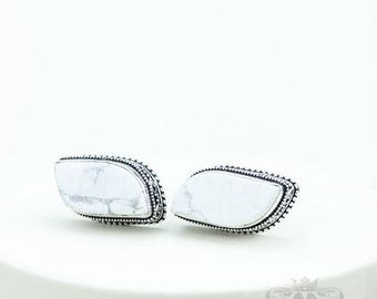 White Buffalo Stone HOWLITE Vintage Filigree Antique 925 Fine S0LID Sterling Silver Men's / Unisex CUFFLINKS k733