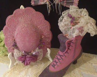 Vintage Ceramic Victorian Boot, Hat and Fan Set ~ Pink and Purple, Vintage Lace, Artificial Flowers, Faux Pearls, Lightly Distressed, Shabby