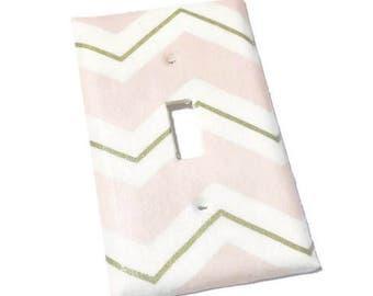 Pink and gold chevron light switch cover - Chevron Decor - Girls bedroom Decor - Pink chevron nursery - Baby Girl Nursery - Modern nursery