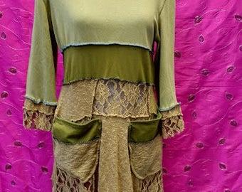 Ladies dress, sage green, jersey, stretch, original design