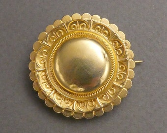 18K Etruscan mourning/memory locket brooch Face is 18K