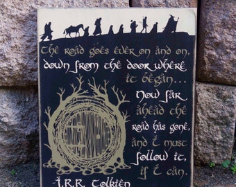 Lord Of The Rings Sign, J.R.R. Tolkien Quote, LOTR, Hobbit Hole, Hobbit Sign, Hand Painted, Wood Sign