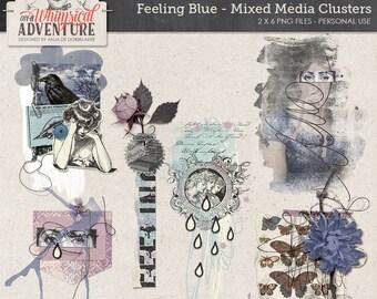 Digital art journaling, digital download, mixed media clusters, digital scrapbooking elements, embellishments, paint, stacked elements, blue