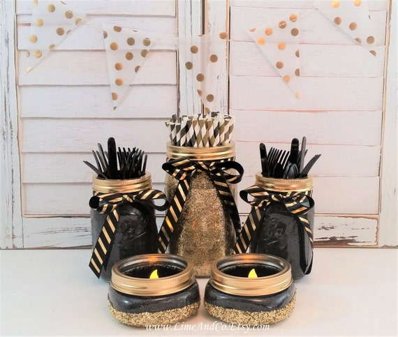 Mason Jar Party Decorations: Mason Jar Centerpiece Black And Gold Birthday 50th