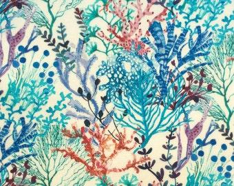 "2017: Reef B Liberty Fabric scrap tana lawn 10"" x 10"" square (25,4 cm x 25,4 cm) blue marine white red petrol coral The Weavers Mill"