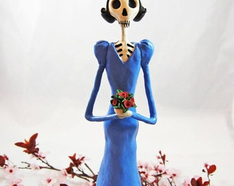 Catrina Doll, Day of the Dead, Dia De Los Muertos, Skeleton Sculpture, Skeleton Doll, Clay Art Doll, Halloween, Collector Dolls