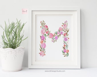 Floral Letter, Printable Art, Nursery Print, Monogram Print, Letter Print, Nursery Wall Art, Nursery Wall Decor, Christmas, Birthday, DT234
